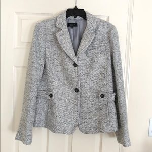 TALBOTS Textured Tweed Silver/Gray Jacket size 14